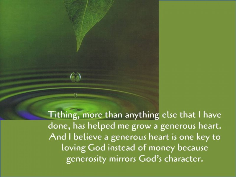 Money, generosity and transformation into Christ's image